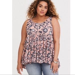 Torrid Pink Floral Chiffon Lace Up Tank Top